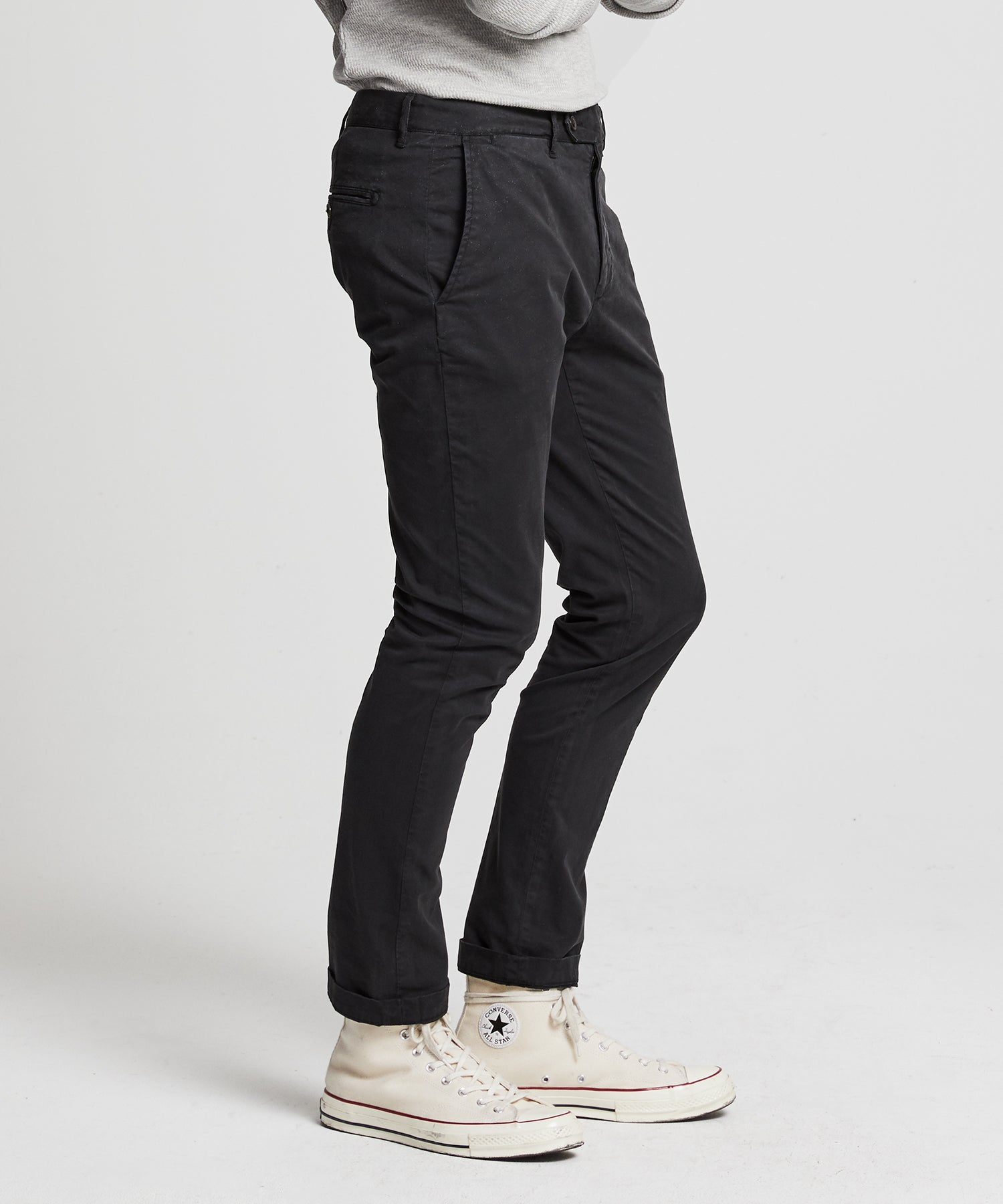 Extra Slim Fit Tab Front Stretch Chino in Black