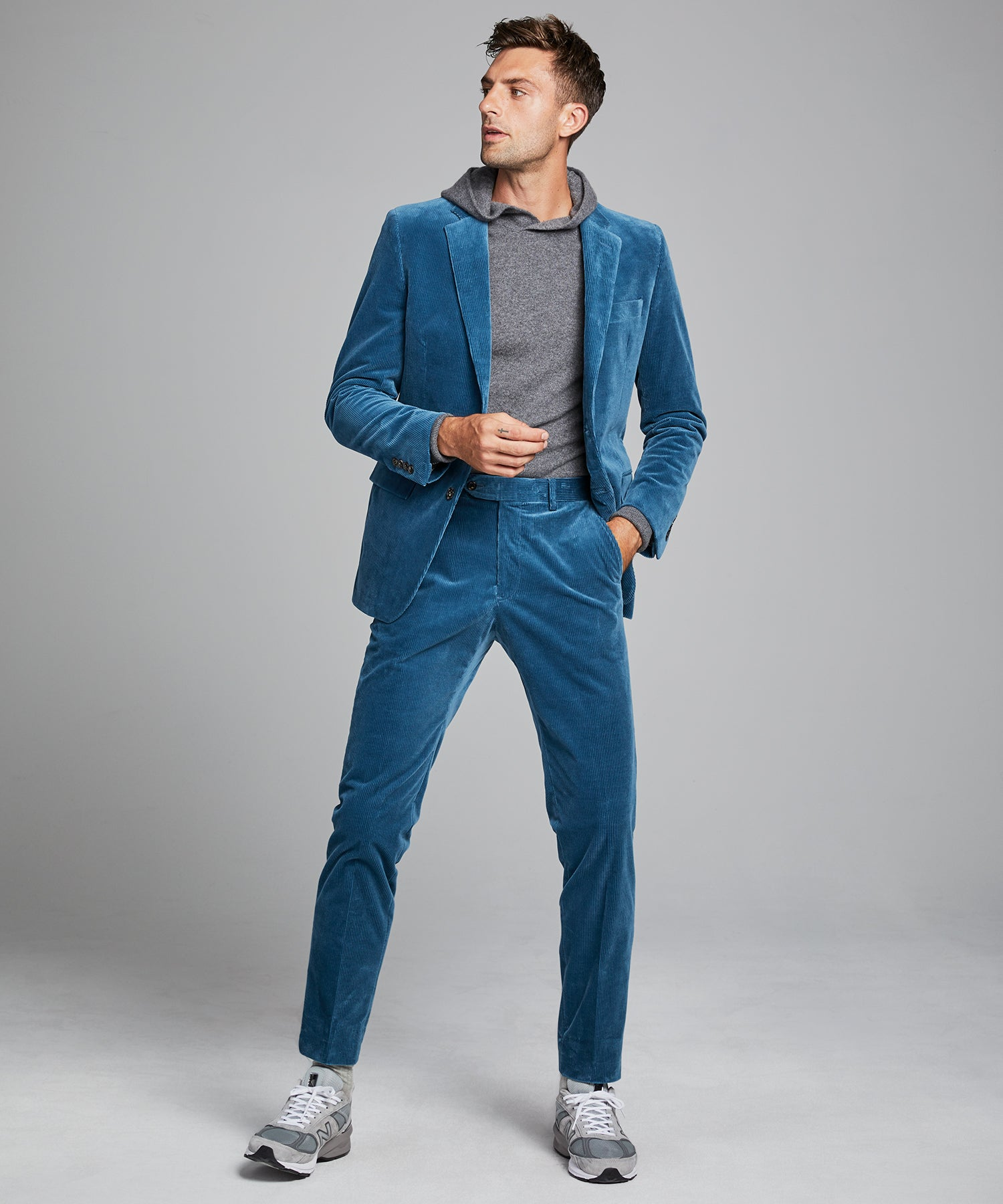 Italian Stretch Cord Sutton Suit in Teal