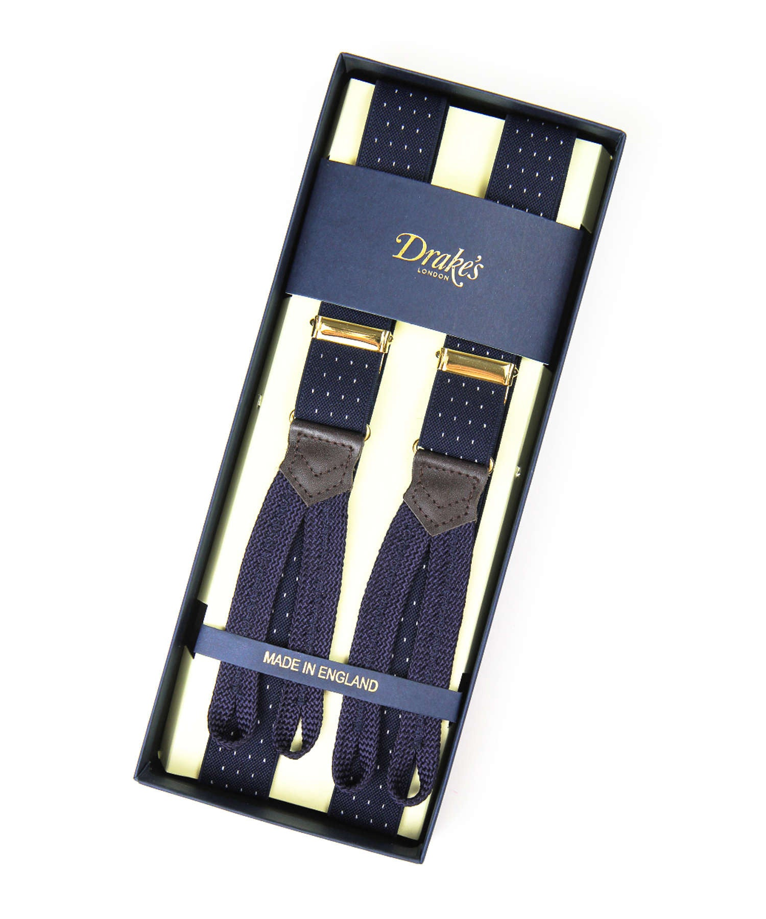 Drake's Navy Polka Dot Narrow Suspenders