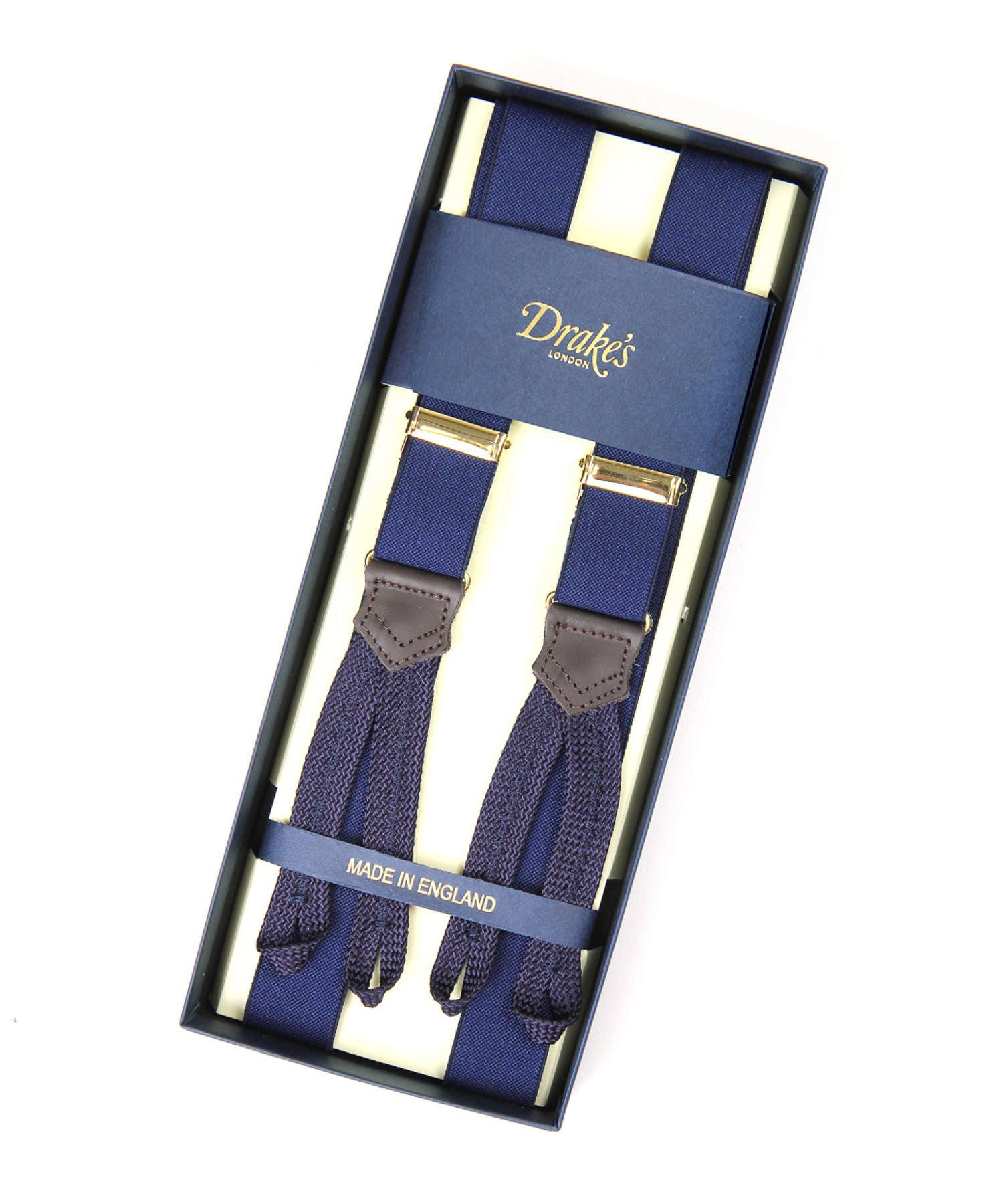 Drake's Navy Narrow Suspenders