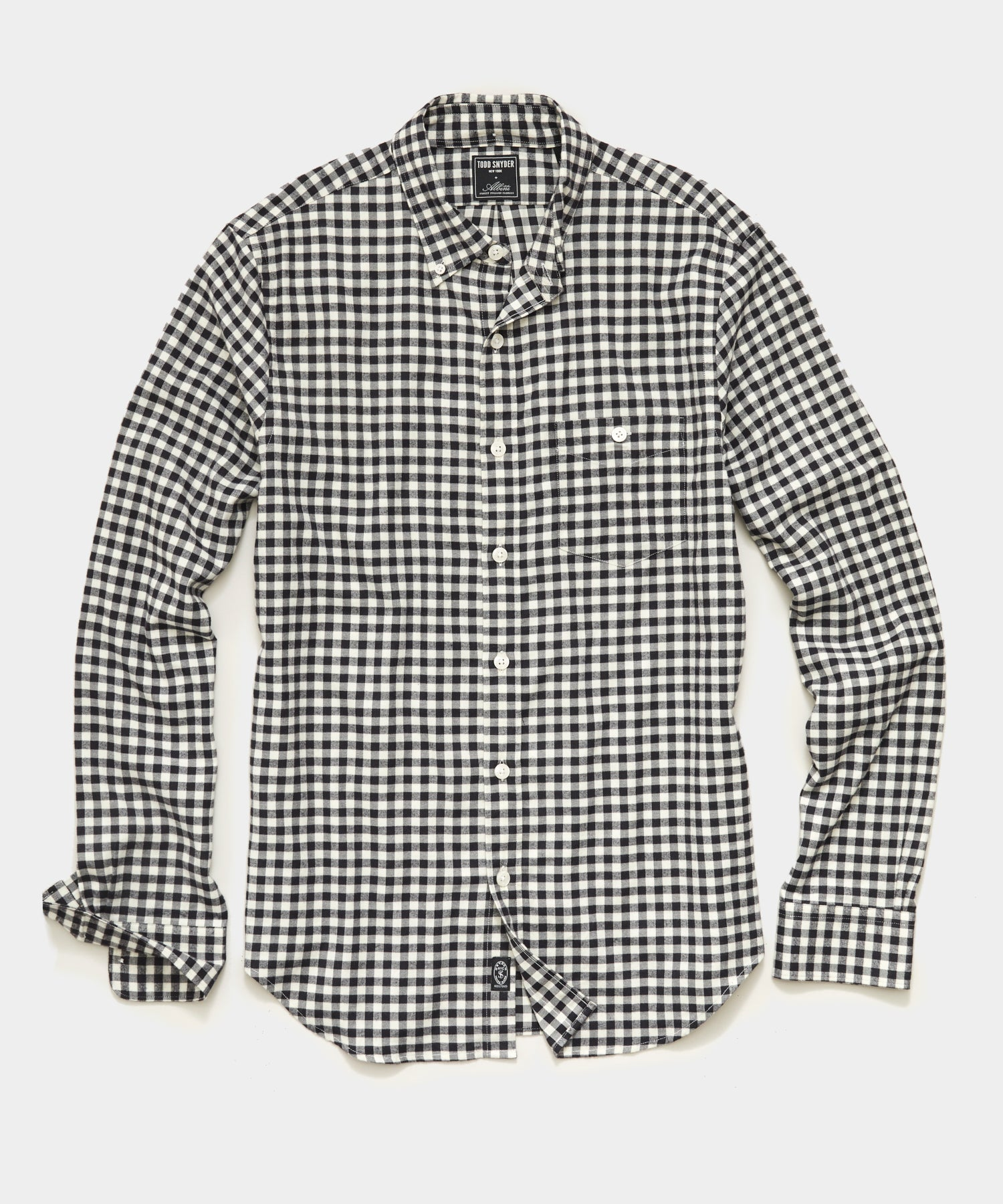 Thomas Mason Gingham Brushed Twill Shirt in Black White