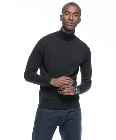 John Smedley Easy Fit Turtleneck in Black