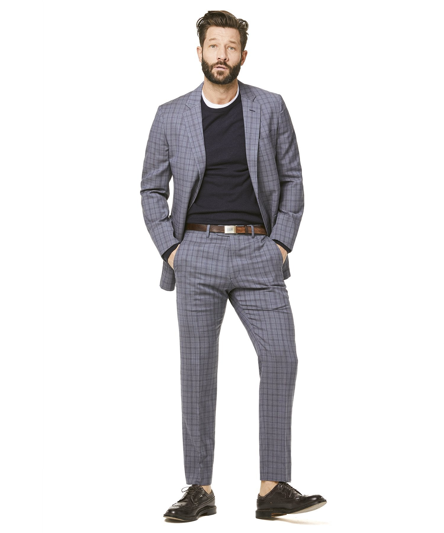 Todd Snyder Black Label Navy and Grey Tropical Wool Plaid Sutton Suit