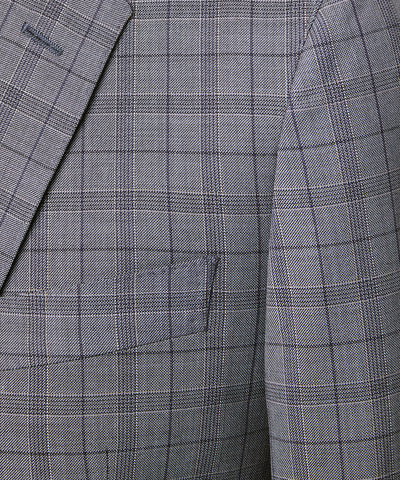 Navy and Grey Tropical Wool Plaid Sutton Suit Jacket