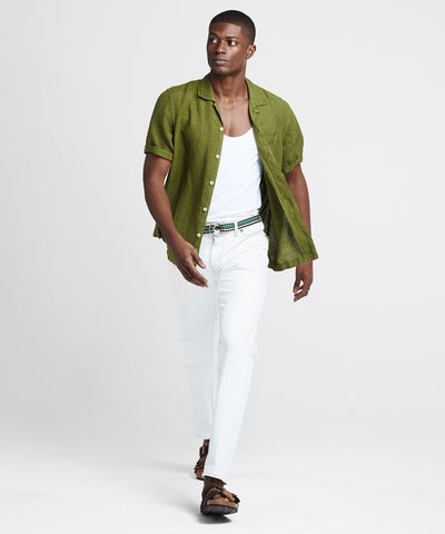 Short Sleeve Linen Camp Collar Shirt in Bright Green