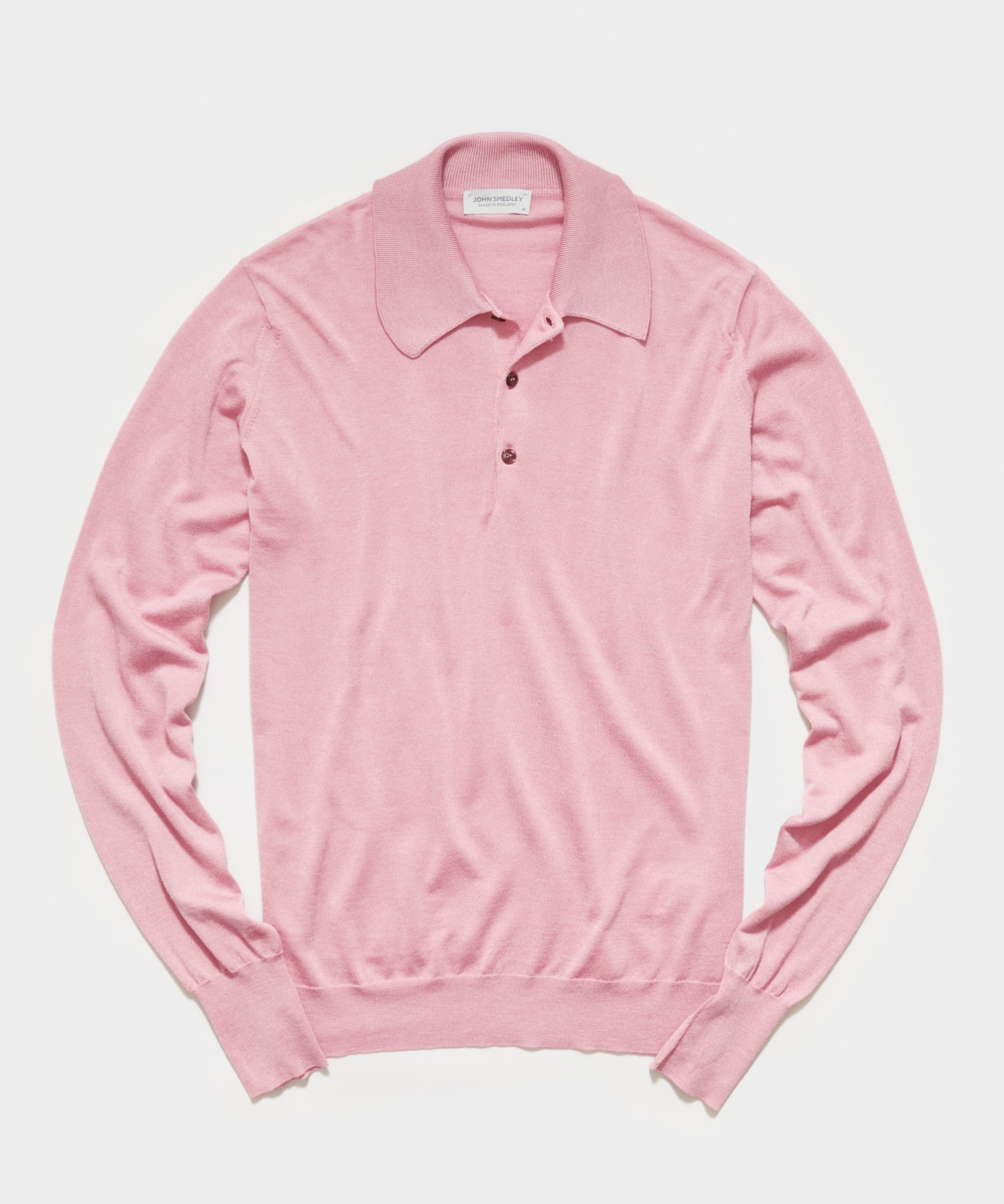 John Smedley Long Sleeve Easy Fit Merino Polo in Rose