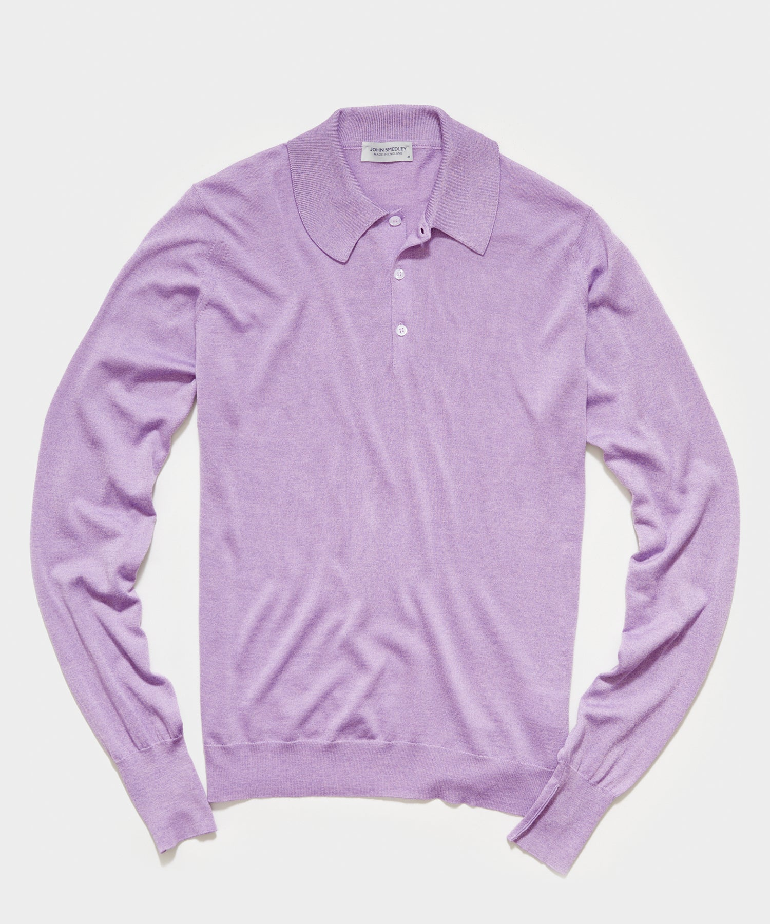 John Smedley Long Sleeve Easy Fit Merino Polo in Waterlily