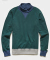 Colorblock Turtlenck Sweatshirt in Hunter Green