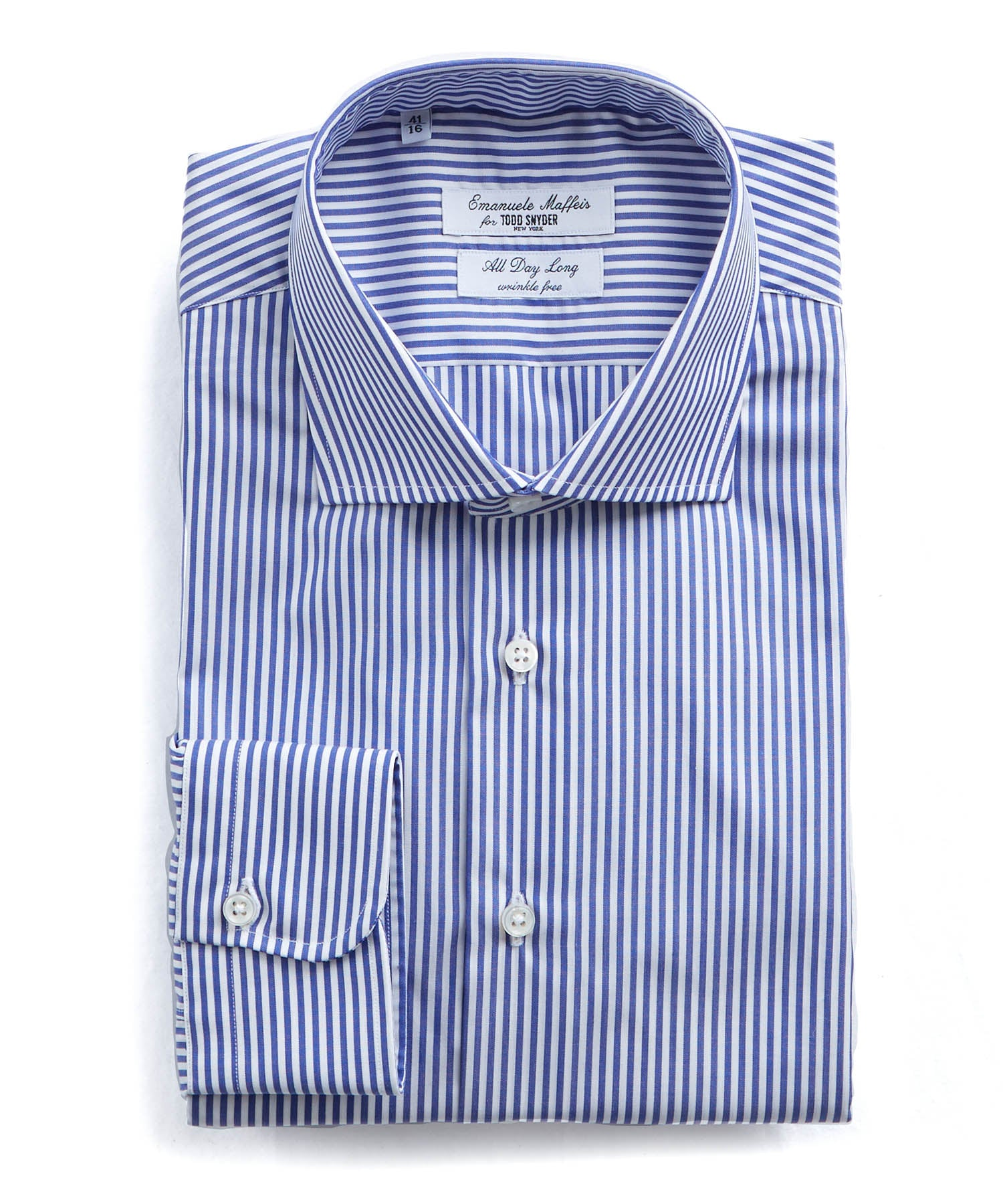 Emanuele Maffeis + Todd Snyder Banker Stripe Wrinkle Free Dress Shirt