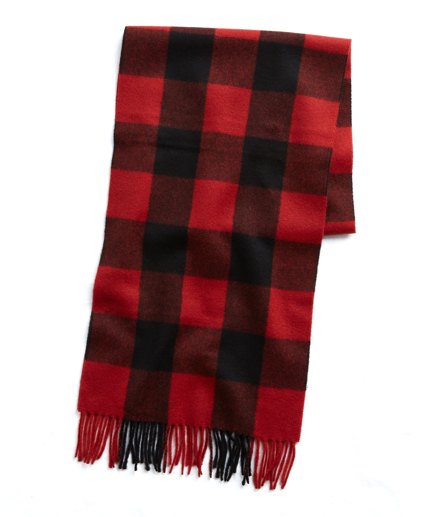 Joshua Ellis Red Buffalo Check Cashmere Scarf