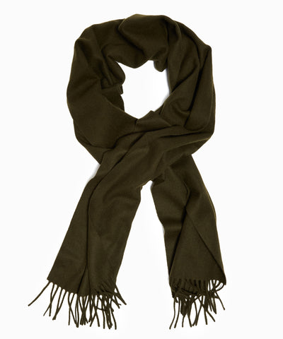 Joshua Ellis Solid Cashmere Scarf in Army Drab