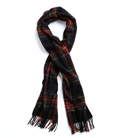 Joshua Ellis Red Plaid Cashmere Scarf