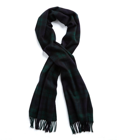 Joshua Ellis Green Blackwatch Cashmere Scarf