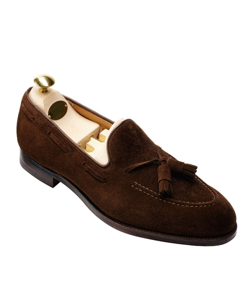 Crockett and Jones Cavendish Suede Tassel Loafer in Dark Brown