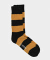Corgi Striped Irish Donegal Wool Socks in Graphite/ocher
