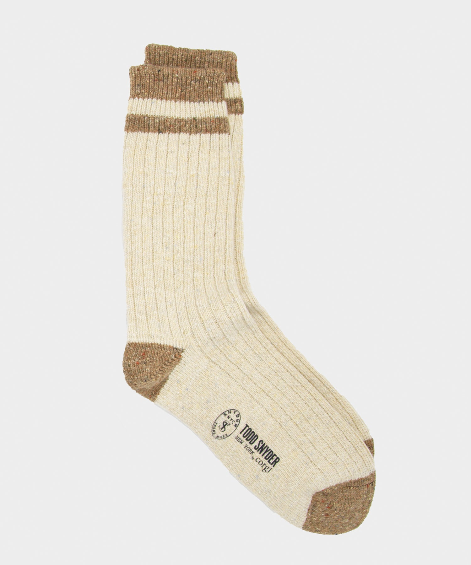 Corgi Tipped Irish Donegal Wool Socks in Ecru/barley