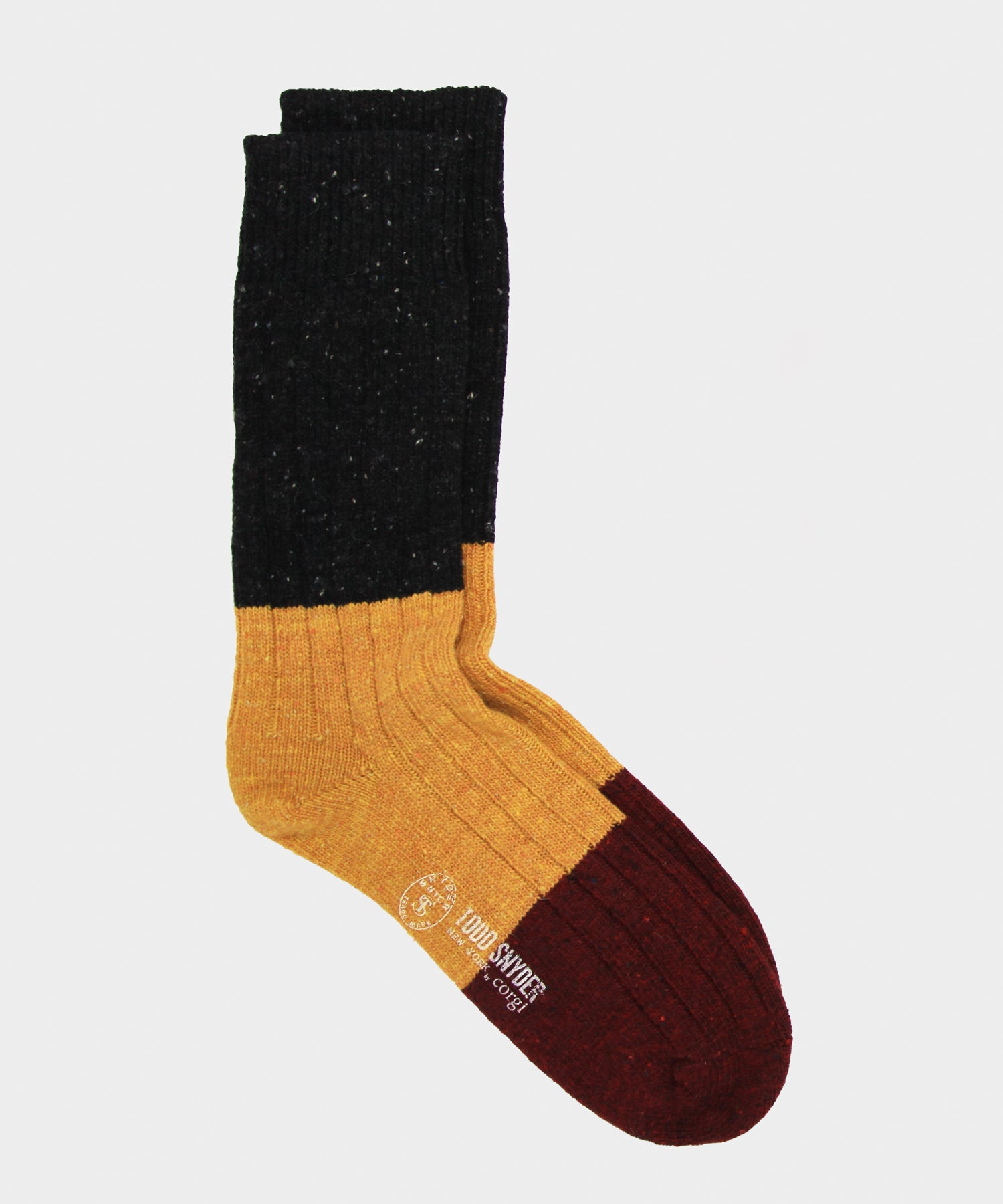 Corgi Tri Color Irish Donegal Wool Socks in Spice