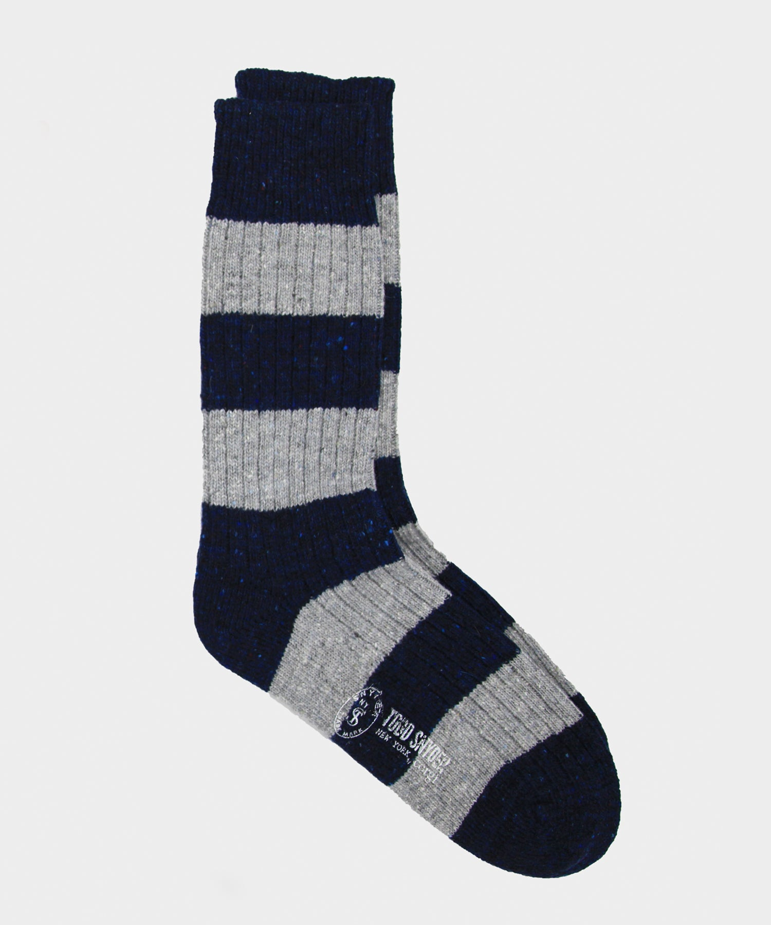 Corgi Striped Irish Donegal Wool Socks in Ink/silver