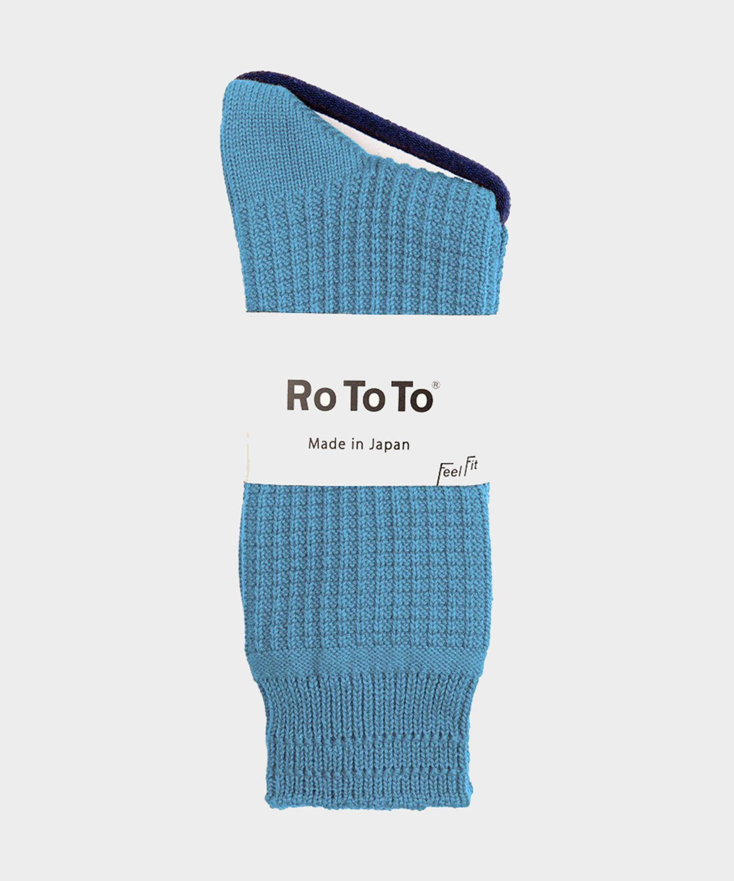 Rototo Cotton Waffle Socks in Sky Blue
