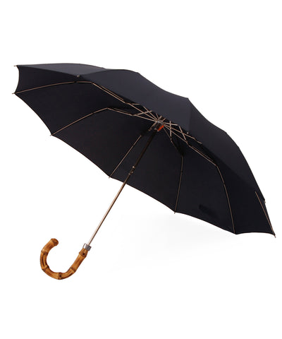 Whangee Cane Crook Handle Dark Navy Telescopic Foldable Umbrella