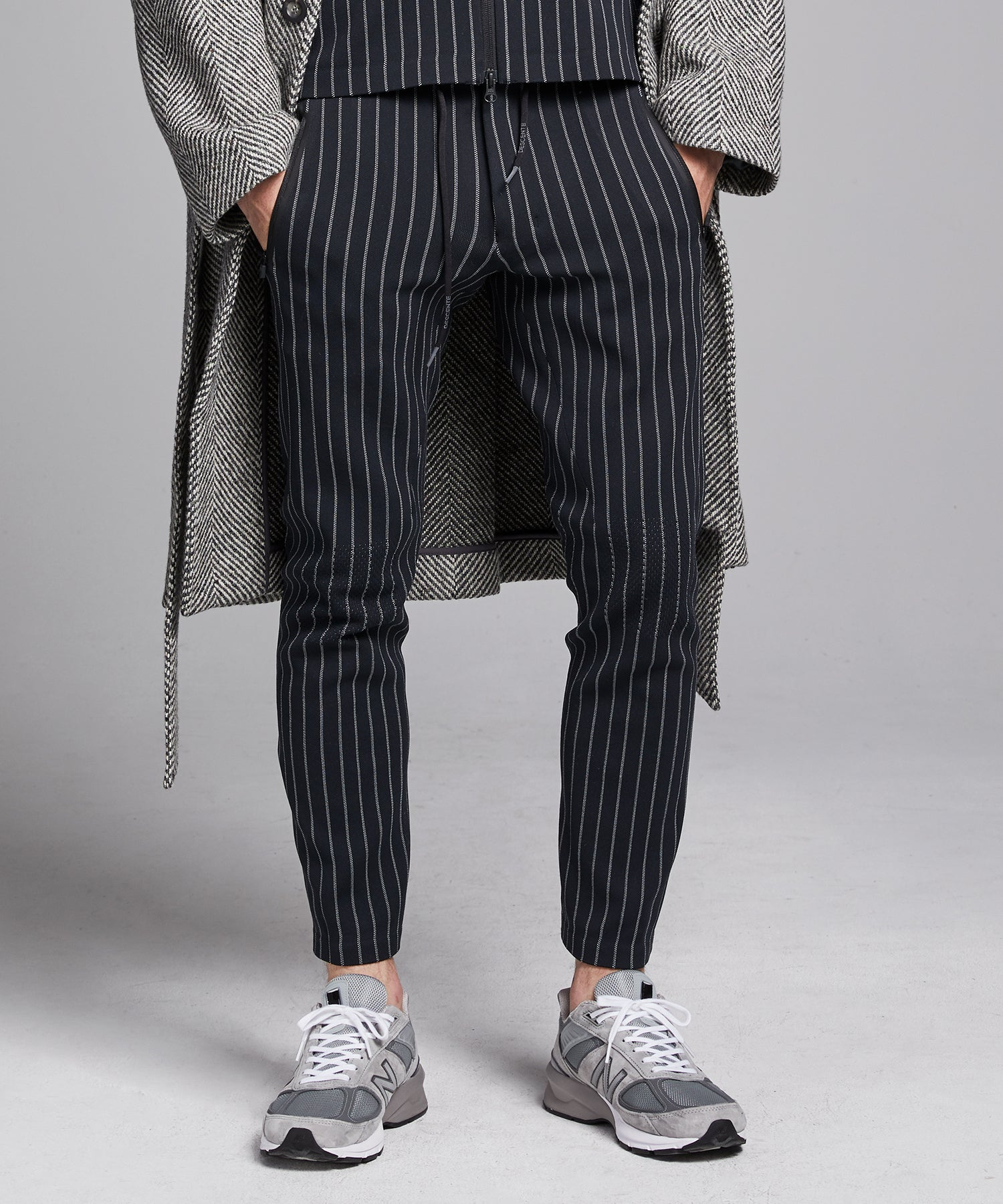 Todd Snyder + Descente Synchknit Long Pants Cloud in Navy Pinstripe