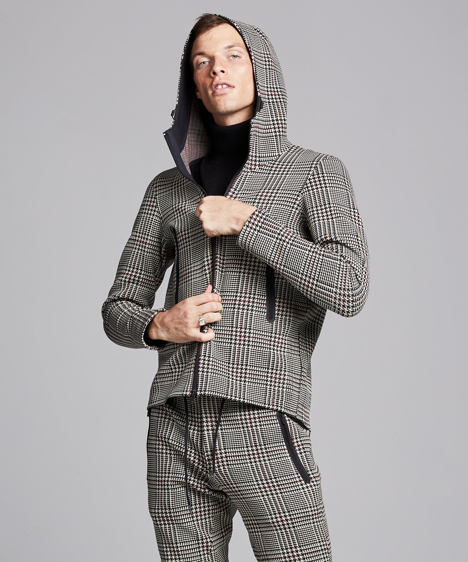 Todd Snyder + Descente Synchknit Hoodie Jacket Circuit in Glen Plaid