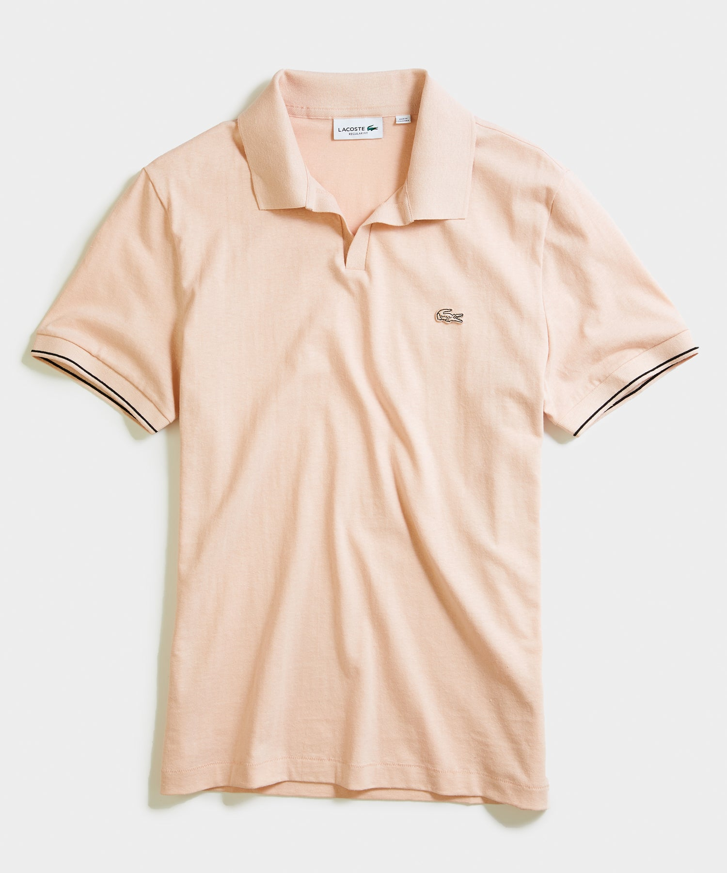 Lacoste Slim Short Sleeve Cotton Linen Polo in Pale Salmon