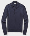 John Smedley Long Sleeve Easy Fit Merino Polo Sweater in Navy