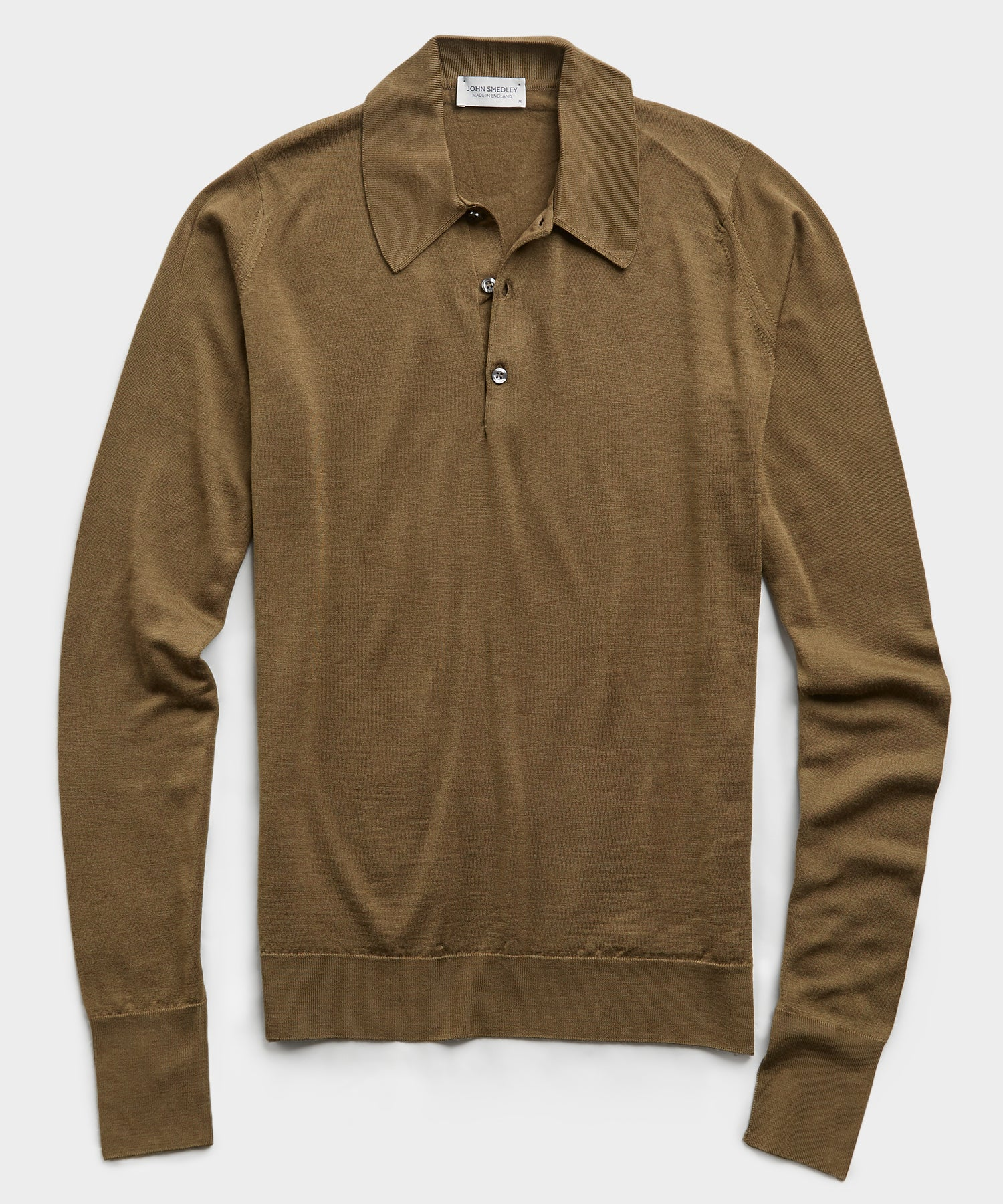 John Smedley Easy Fit Long Sleeve Polo Sweater in Khaki
