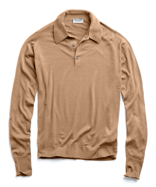 John Smedley Long Sleeve Polo in Easy Fit in Camel