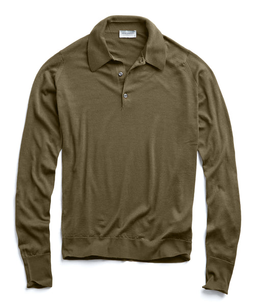 John Smedley Easy Fit Long Sleeve Polo Sweater in Olive