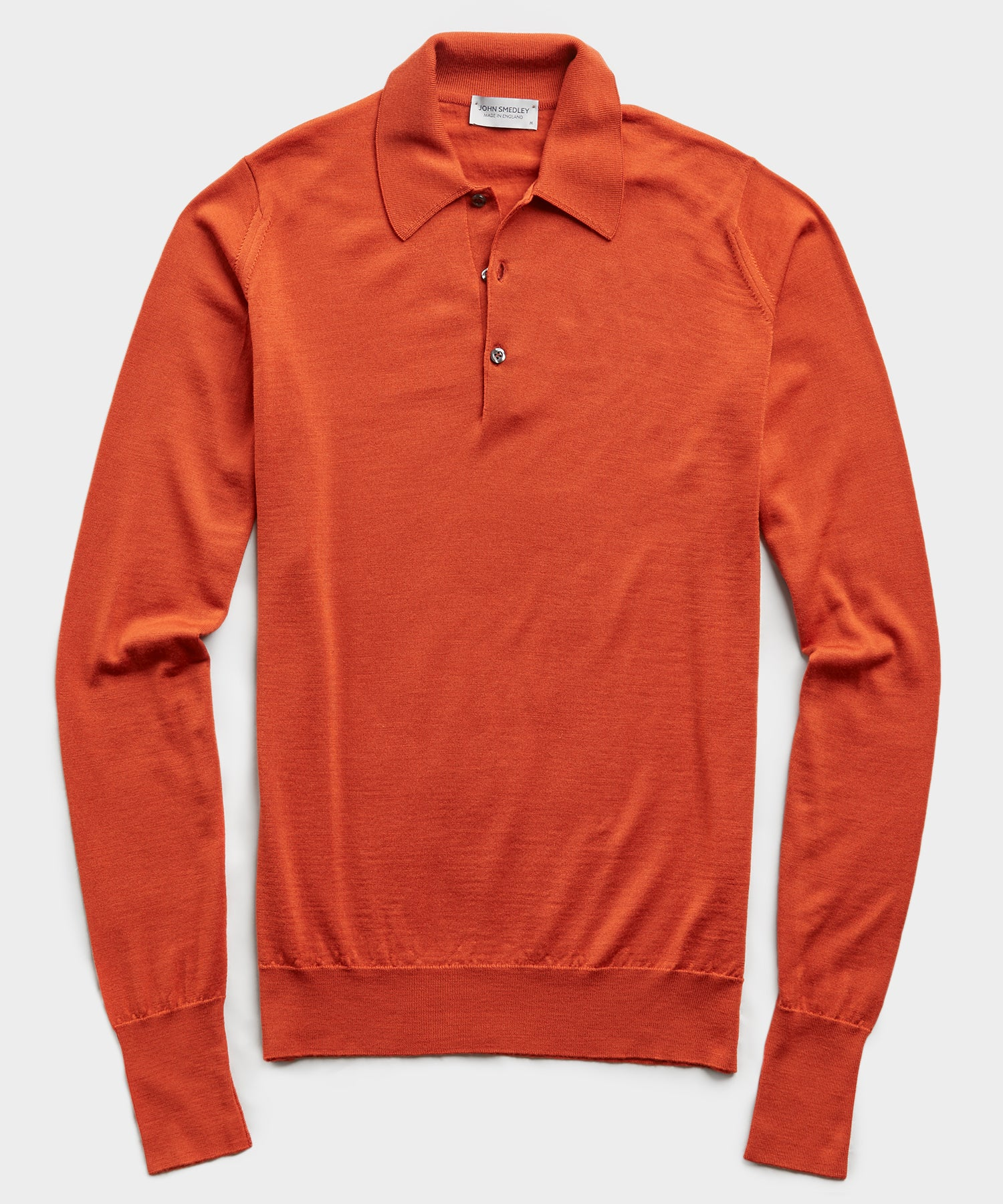 John Smedley Easy Fit Long Sleeve Polo Sweater in Orange