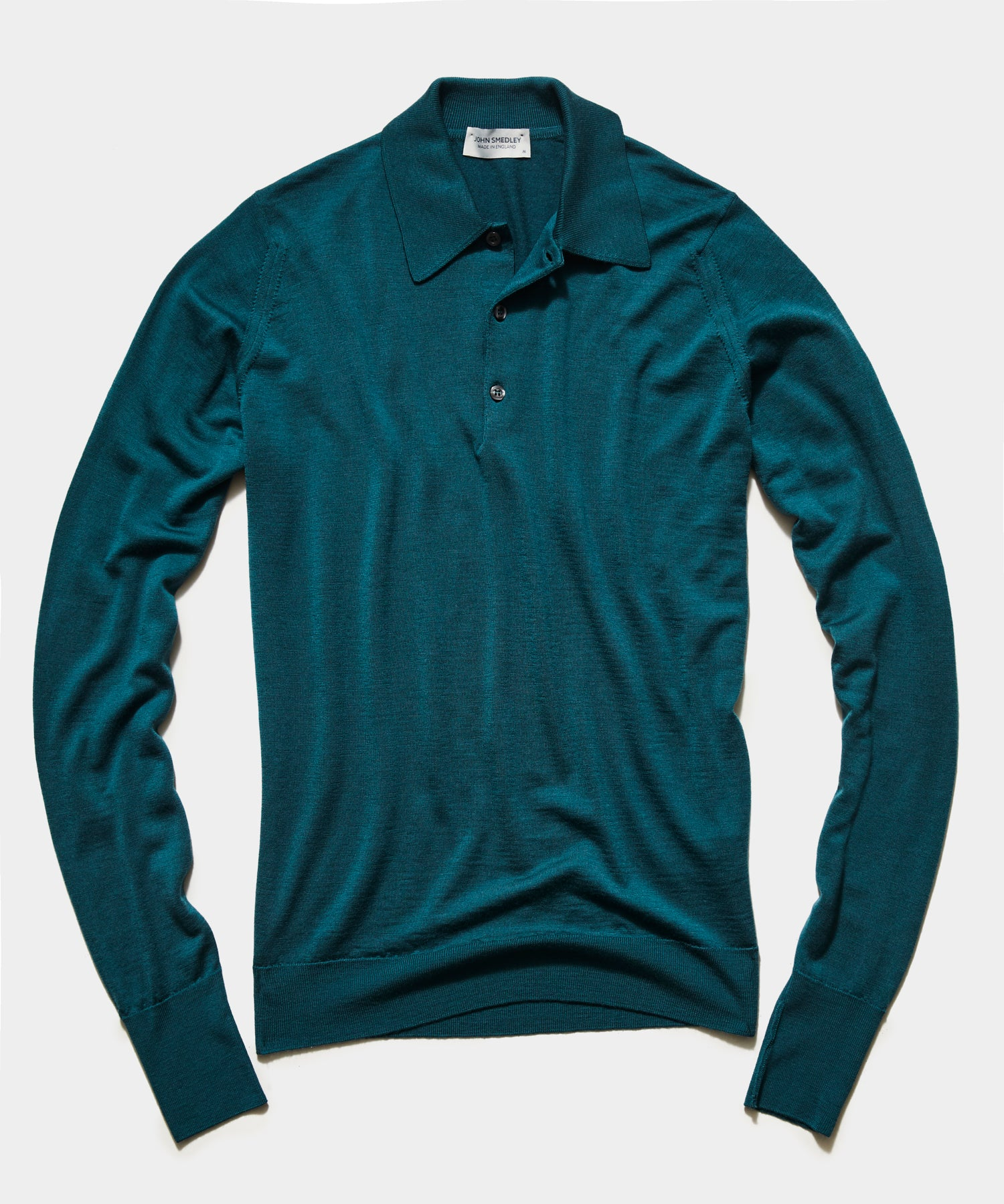 John Smedley Easy Fit Long Sleeve Polo Sweater in Emerald