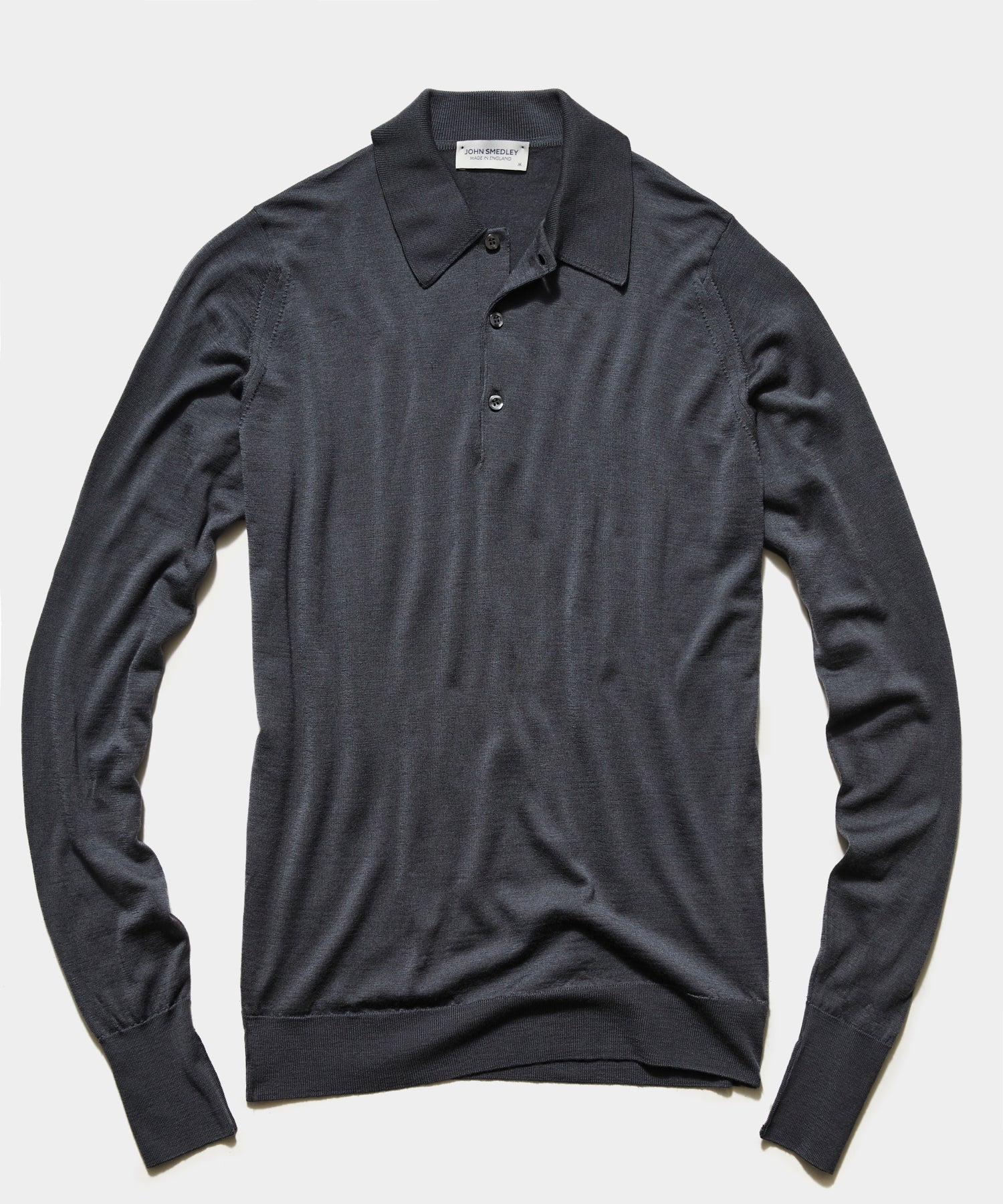 John Smedley Easy Fit Long Sleeve Polo Sweater in Slate