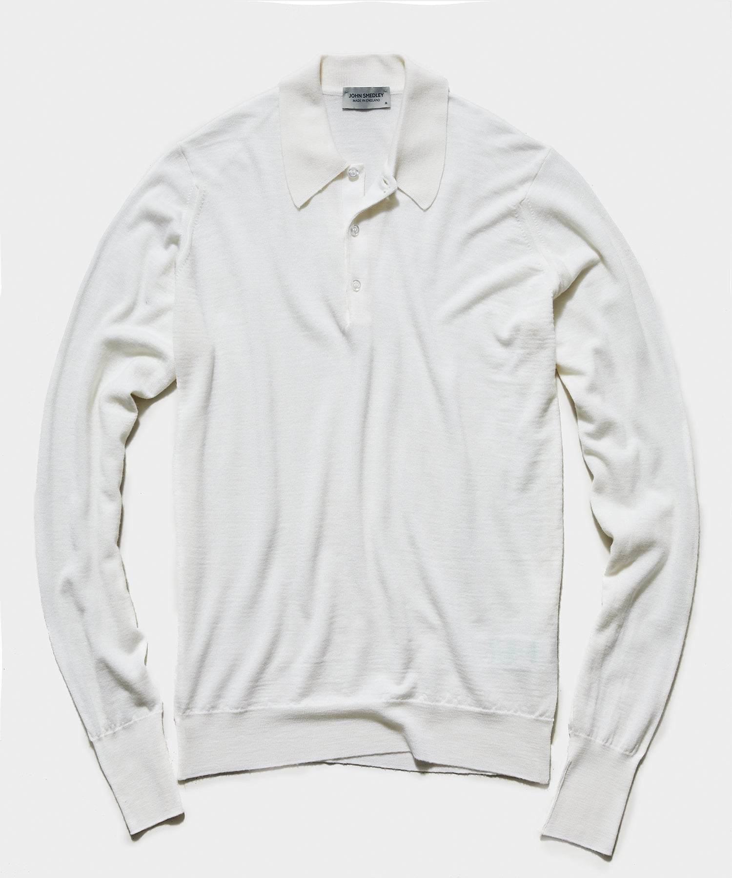 John Smedley Easy Fit Long Sleeve Polo Sweater in Snow