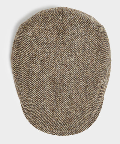 Lock & Co Drifter Flat Cap Moon Wool in Brown Herringbone