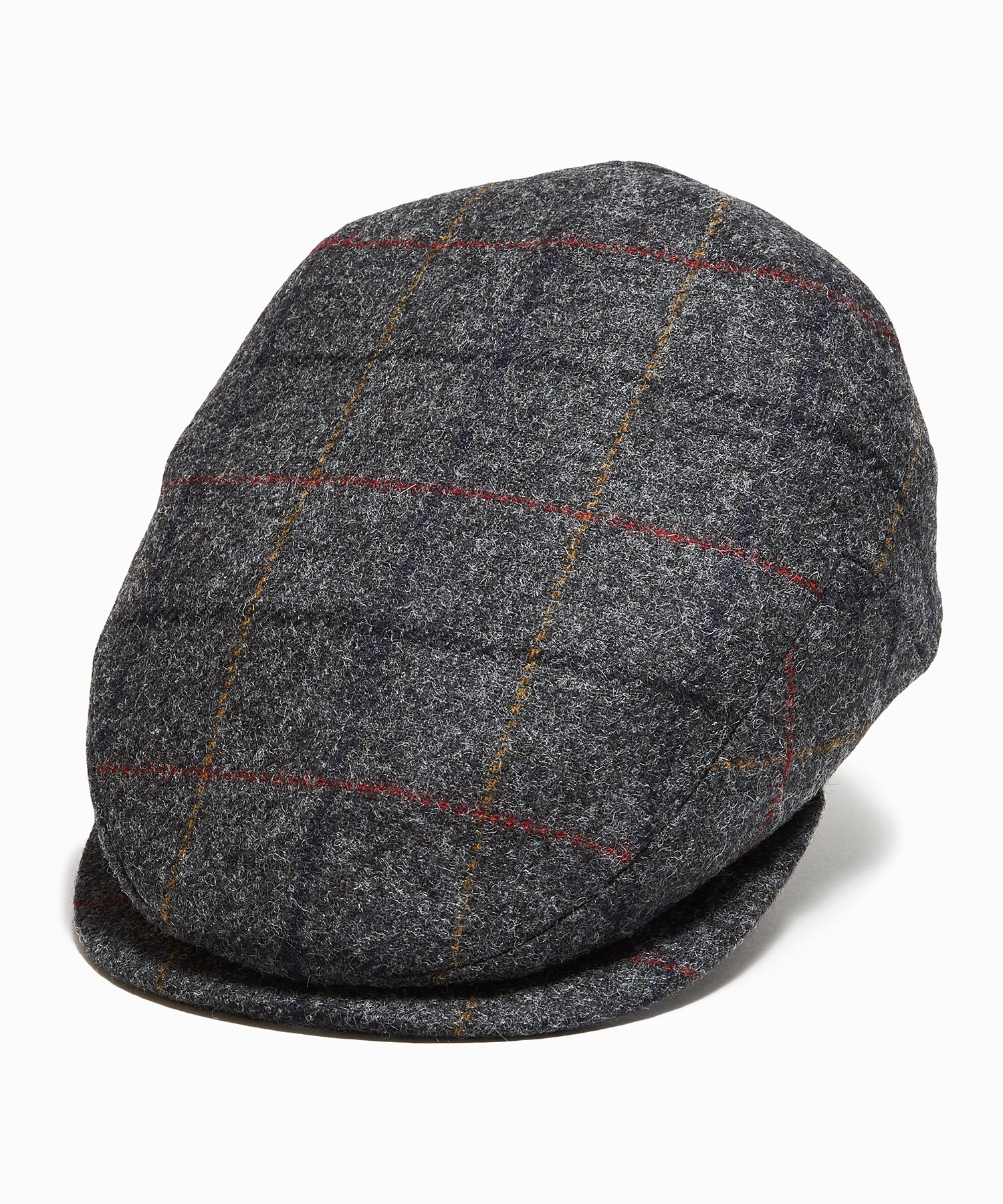 Lock & Co Drifter Cap in Moon Wool Charcoal Windowpane