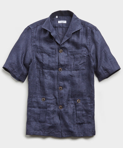 Made in Italy Maffeis Safari Linen Shirt Jacket in Navy