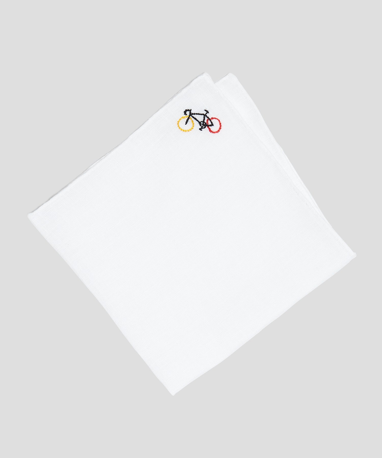 Handmade Italian Linen Pocket Square with Bicycle Embroidery