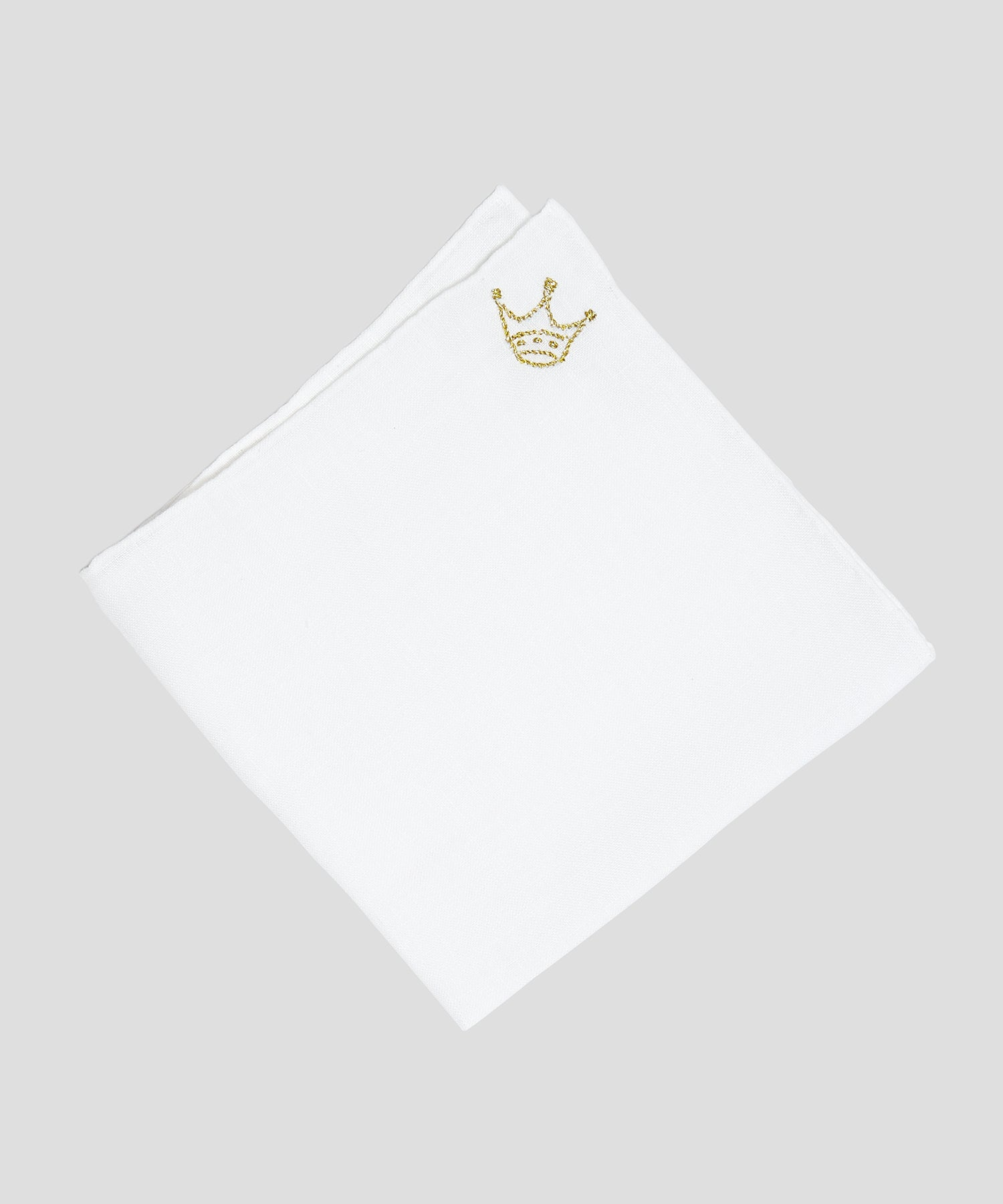 Handmade Italian Linen Pocket Square with Crown Embroidery