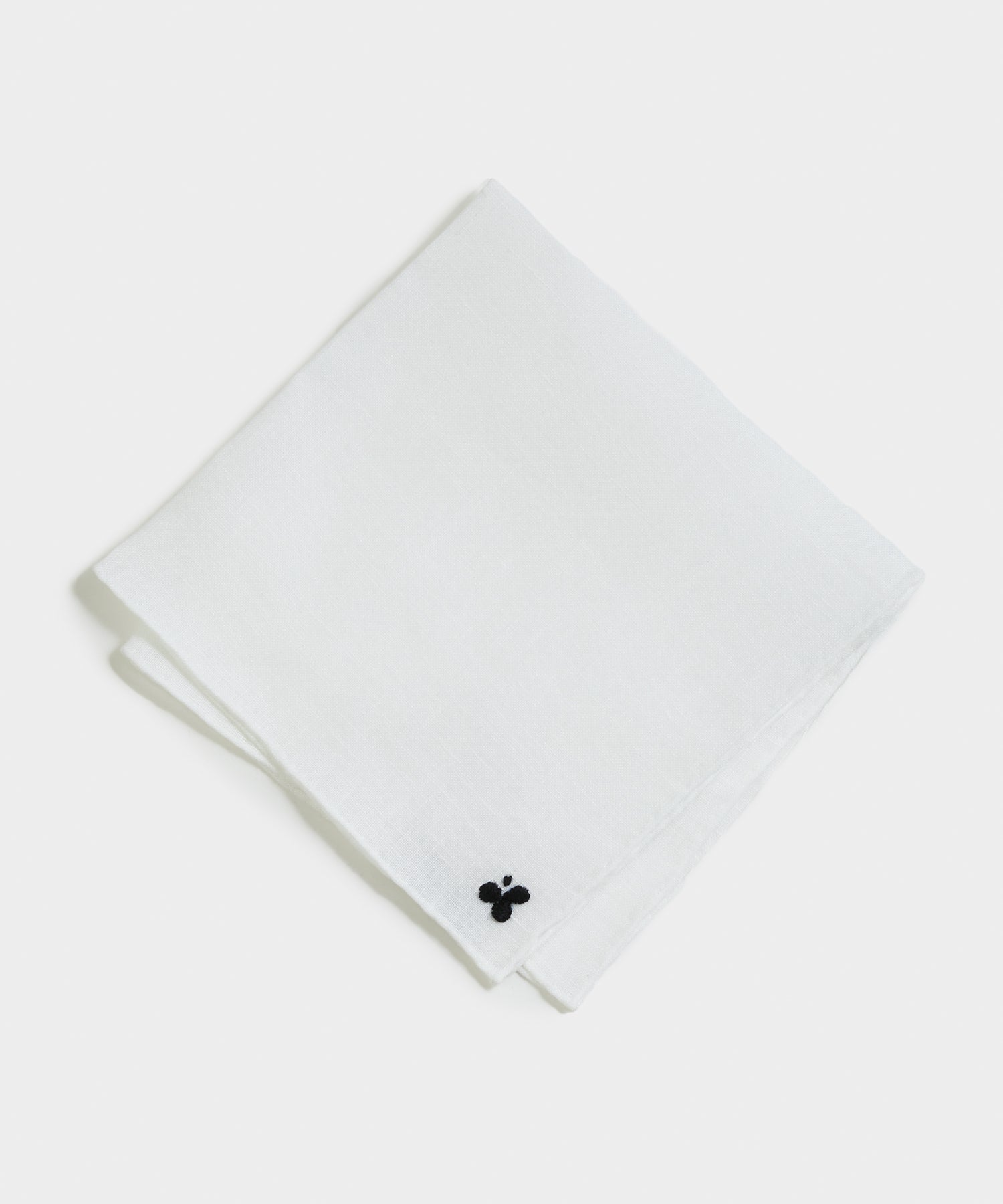 Handmade Italian Linen Pocket Square with Club Embroidery