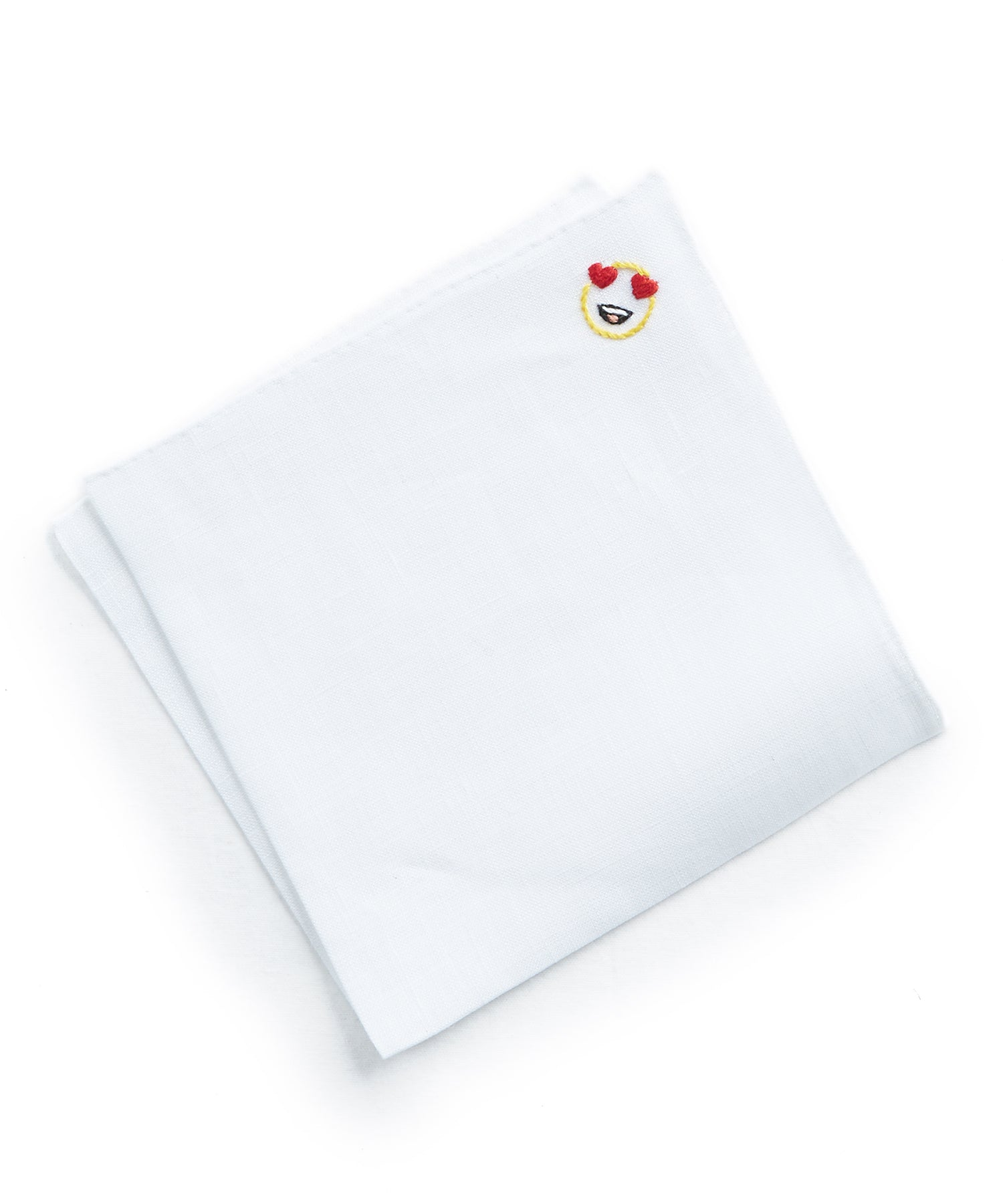 Handmade Italian Linen Pocket Square with Heart Eyes Emoji
