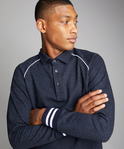 Italian Wool Herringbone Polo in Navy