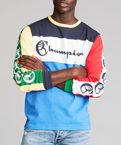 Color Block Graphic Long Sleeve Tee in Light Blue
