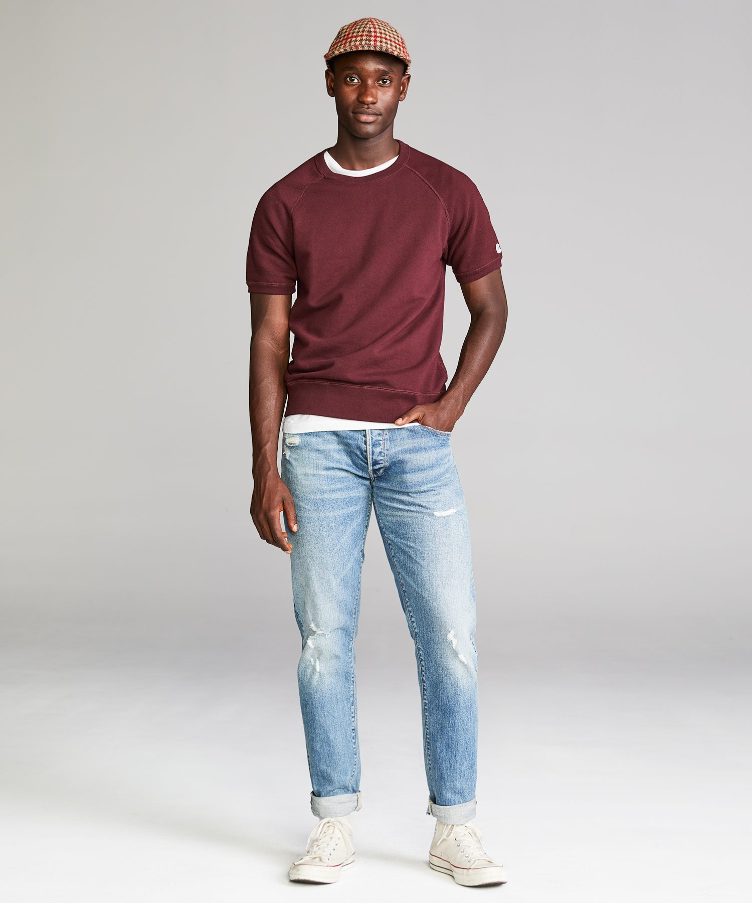 Terry Short Sleeve Sweatshirt in Deep Burgundy