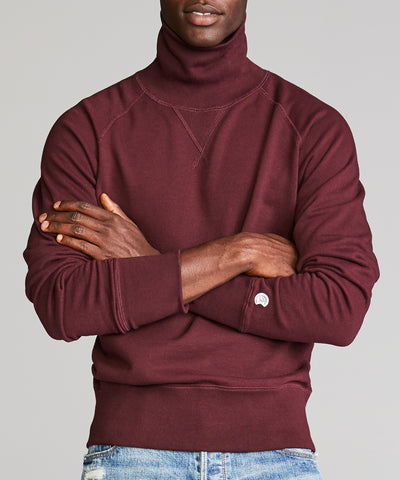Terry Turtleneck Sweatshirt in Deep Burgundy
