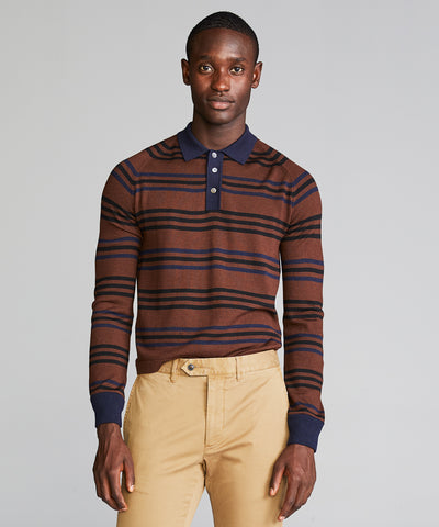 Long Sleeve Merino Stripe Polo in Brown