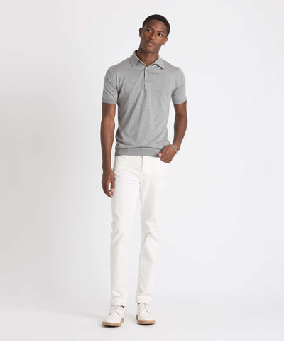 John Smedley Sea Island Cotton Polo in Silver