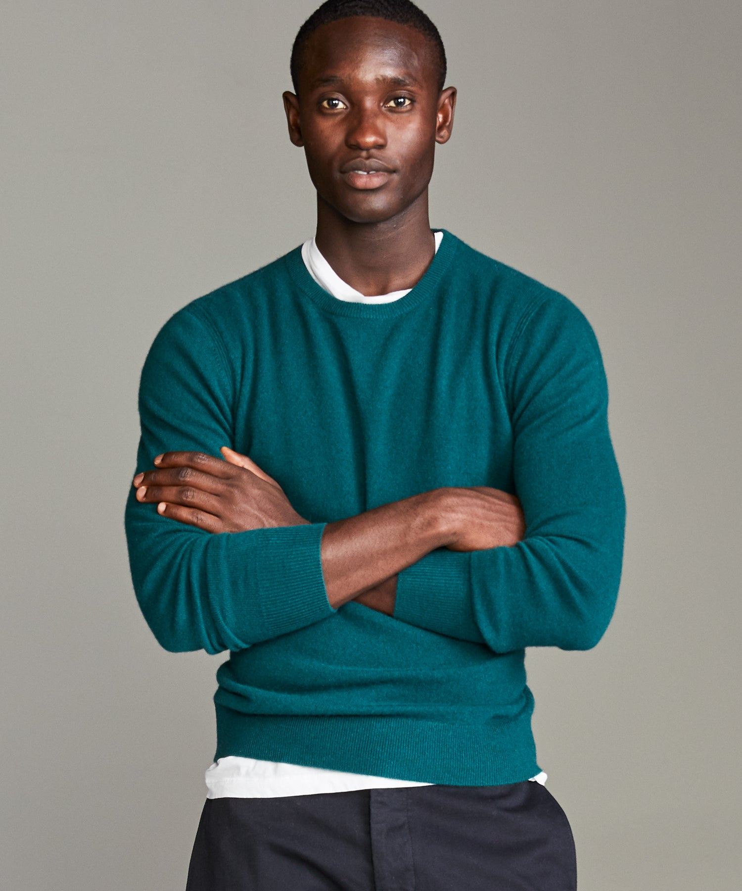 Cashmere Crewneck Sweater in Evergreen