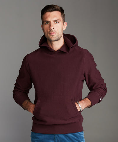 Terry Popover Hoodie Sweatshirt in Deep Burgundy